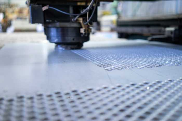 Perforating sheet on CNC punch